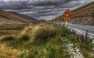 Дорога, Обочина, Знак, Новая Зеландия
