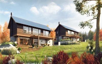 Проект двух деревянных котеджей, Патагония, Аргентина