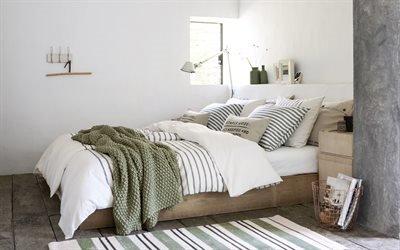 Интерьер спальни в скандинавском стиле, Кровать, Шерстяной плед, Подушки