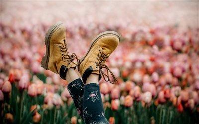 Весна, Тюльпаны, Девочка, Желтые ботинки