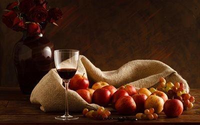 доски, мешок, фрукты, яблоки, ягоды, виноград, ваза, цветы, розы, бокал, вино, штопор