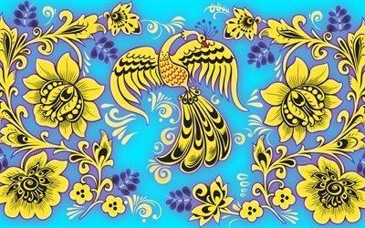 цветы, Жар-птица, роспись, фон