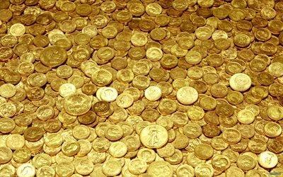 золото, монеты, много