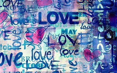 LOVE, текстура, сердечки