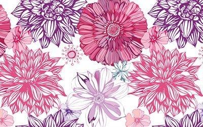цветы, вектор, георгины, бутоны, астры, арт