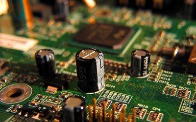 микросхема, конденсаторы, компьютерная плата
