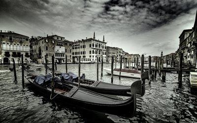 Набережная, Канал, Лодки, Венеция, Италия