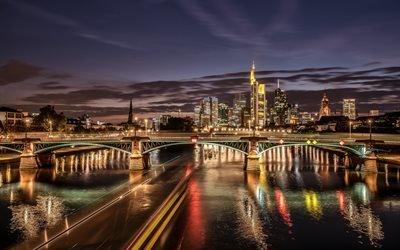 река, Майн, Main River, здания, огни, город, Франкфурт-на-Майне, Германия, Germany, мост, Frankfurt am Main