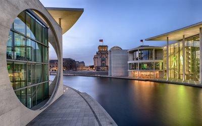 Закат, Вода, Современная архитектура, Правительственный квартал, Берлин, Германия