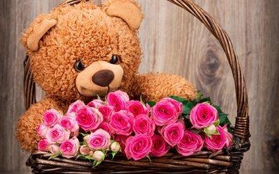 плюшевый медведь, розовые розы, подарок, плюшевые игрушки, медвежонок