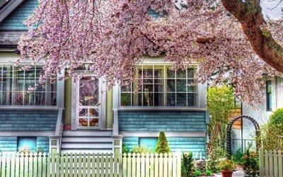 Палисадник, Цветущее дерево, Крыльцо, Дом