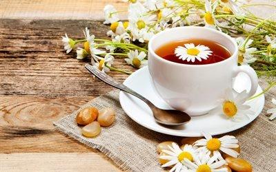 Ромашки, Чай, Чашка, Блюдце, Салфетка