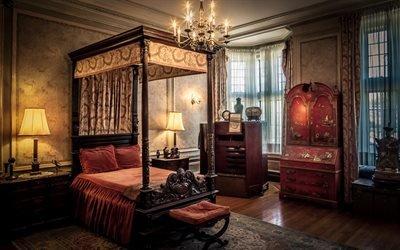 Интерьер спальни в стиле ампир, Кровать с балдахином, Шкаф, Ковер