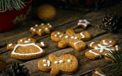 еда, выпечка, печенье, ветки, хвоя, шишки, доски, праздник, рождество