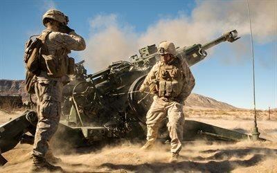 Туэнтинайн-Палмс, Калифорния, Корпус морской пехоты, солдаты, гаубица, учения