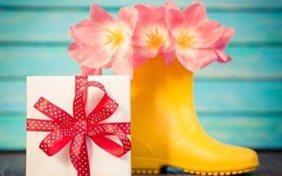 подарок, коробка, сапог, цветы, тюльпаны, праздник, 8 марта, доски