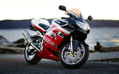 Сузуки, спортивные мотоциклы, фон с мотоциклом