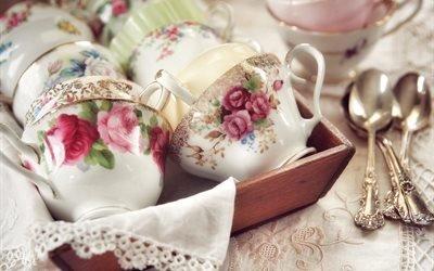 посуда, чашки, ложки, ящик, салфетки