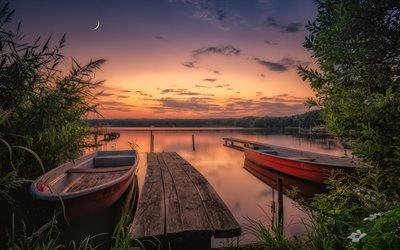 Озеро, Лодки, Национальный парк, Йоркшир Дейлс, Великобритания