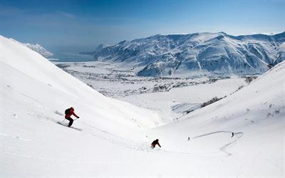 долина, slopes, снег, горы, спуск, склоны, skiers, down, лыжники, mountains, valley, snow