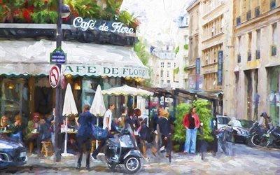 живопись, картина, город, улица, дома, люди, кафе