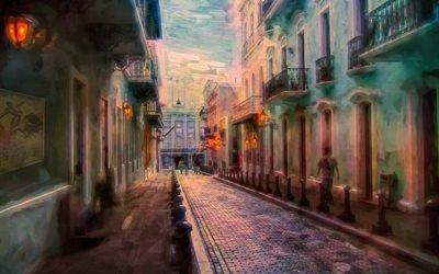 живопись, картина, город, улица, дома, здания, мостовая, люди