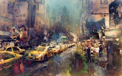 живопись, город, улица, дорога, машины, здания