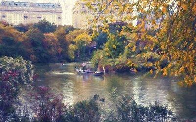 картина, живопись, парк, озеро, лодки, деревья, здания