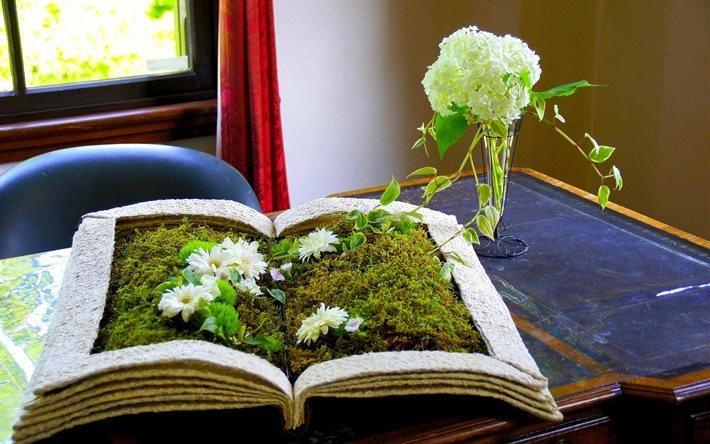 стол, книга, ваза, цветы, мох, окно