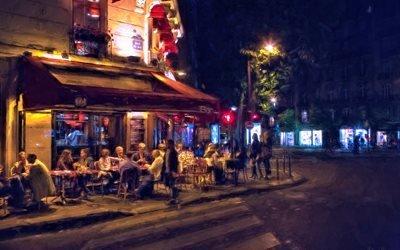 живопись, картина, город, улица, ночь, кафе, люди, дома, здания