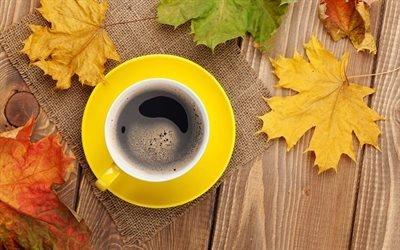 Осенний микс, Деревянный стол, Мешковина, Листья, Чашка кофе