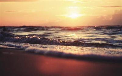 пляж, море, волны, закат, вечер, sea, waves, sunset, evening