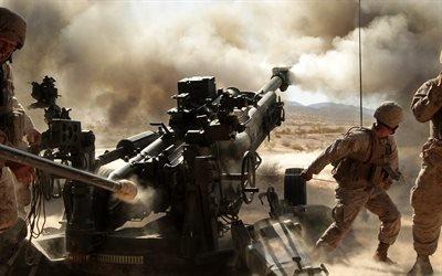 Морская пехота, Учебный полигон, Стрельбы, Гаубица, Калифорния, Marine corps, Howitzer M777, California