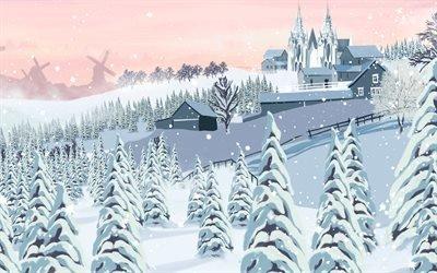 Зимний пейзаж, минимализм