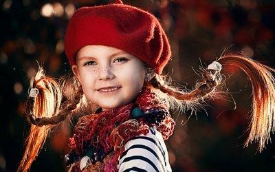 косички, шарф, берет, веснушки, Длинныйчулок, Пеппи, ребёнок, девочка
