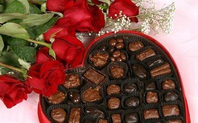 конфеты, подарок, шоколад, розы, вкусно, сладость