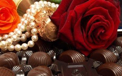 шоколад, роза, вкусно, сладость