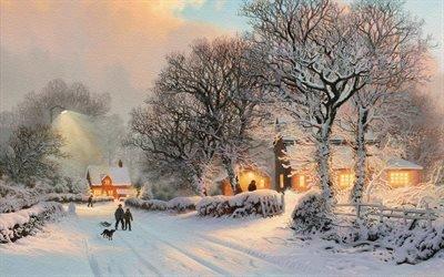 зима, деревня, люди, дорога, собака, свет