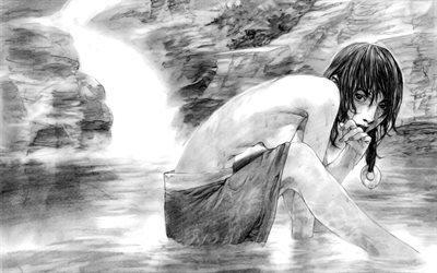 рисунок, рисунок карандашом, черно белый, девушка, размытость