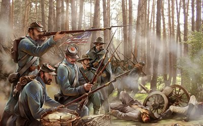 американцы, солдаты, лес, война