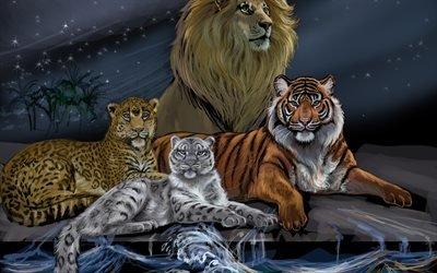 тигр, лев, снежный барс, тигр, вода, волны