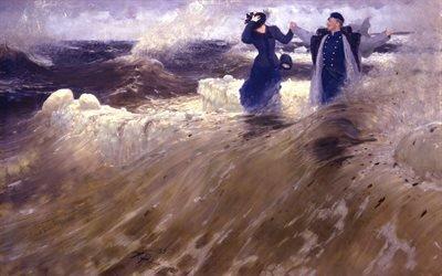 картина, море, волны, вода, женщина, мужчина