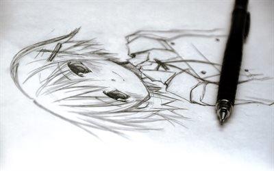 анимашка, карандашный рисунок, карандаш
