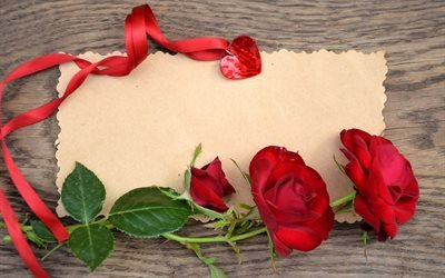 доска, листок, цветы, розы, лента, сердце