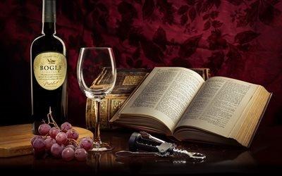 Виноград, Бокал, Книги, Bogle Merlot, Богл, красное калифорнийское вино