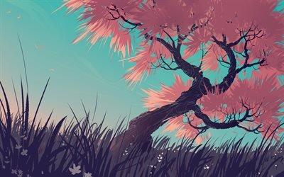 Лето, Трава, Дерево