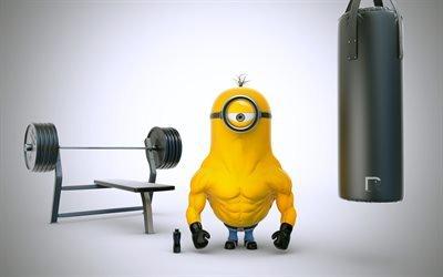 миньон, качок, спортсмен, бодибилдер, тяжелая атлетика, бодибилдинг, міньйон, бодібілдер, важка атлетика, бодібілдинг
