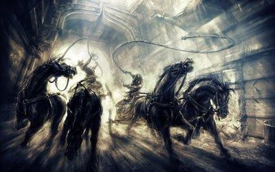 лошади, Prince of Persia, The Two Thrones, Принц Персии, Два Трона, черные скакуны