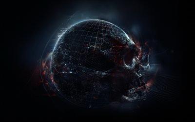 апокалипсис, Планета Земля, череп, конец света, апокаліпсис, Земля, кінець світ