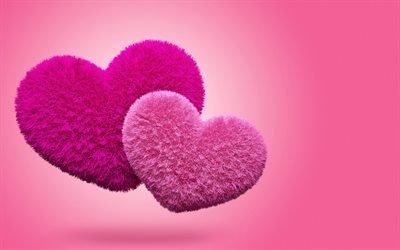 плюшевые сердца, сердце, два сердца, любовь, fluffy hearts